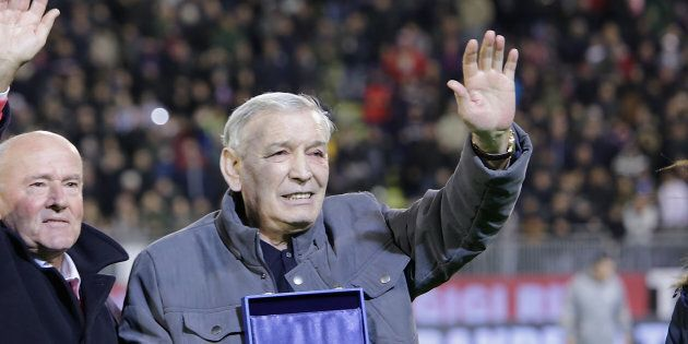 CAGLIARI, ITALY - FEBRUARY 12: Gigi Riva during the presentation of the golden collar ( highest honor...