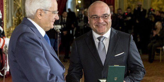 Roma - Il Presidente della Repubblica Sergio Mattarella consegna l'onorificenza al Merito della Repubblica...