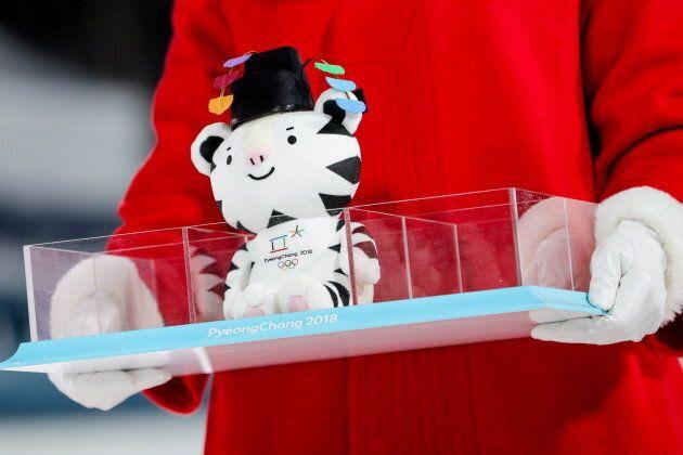 PYEONGCHANG, SOUTH KOREA FEBRUARY 13, 2018: A plush toy of the PyeongChang 2018 Winter Olympic Games...