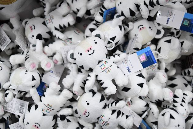 A box containing the Pyeongchang Winter Olympic Games mascot, a white tiger named 'Soohorang', are displayed...