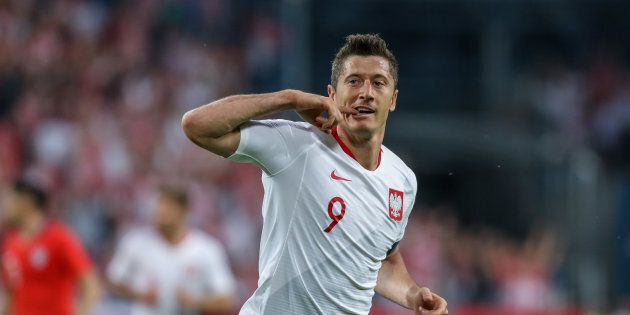 POZNAN, POLAND - JUNE 08: Robert Lewandowski of Poland celebrates scoring a goal during International...