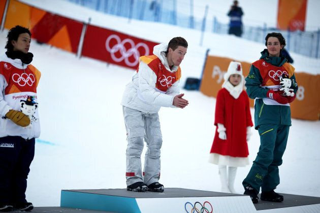 PYEONGCHANG, SOUTH KOREA - FEBRUARY 14: Shaun White #2 of the United States after winning the gold medal...