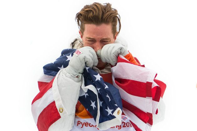 PYEONGCHANG-GUN, SOUTH KOREA - FEBRUARY 14: Gold medalist Shaun White of the United States shows his...