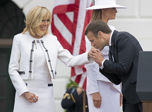 24/04/2018 Washington, cerimonia di benvenuto per il presidente francese alla Casa Bianca, nella foto...