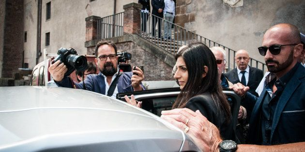 The mayor of Rome, Virginia Raggi, leaves the Capitol to go to power of attorney after the events of...