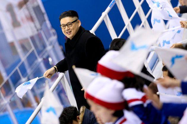 GANGNEUNG, SOUTH KOREA - FEBRUARY 14: An impersonator of Kim Jong-un, President of North Korea during...