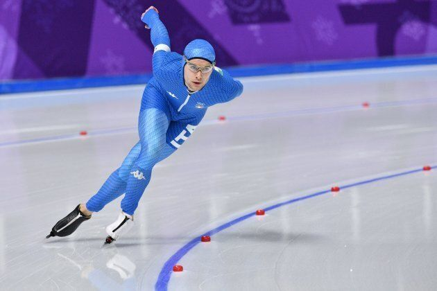 Italy's Nicola Tumolero competes in the men's 10,000m speed skating event during the Pyeongchang 2018...