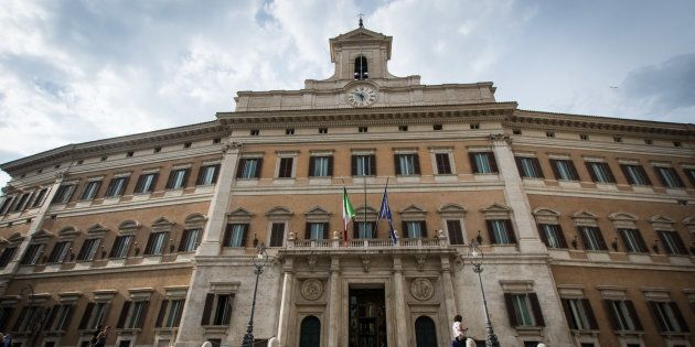 A general view of Palazzo Montecitorio, Italy's Parliament building and office of the Chamber of Deputies...