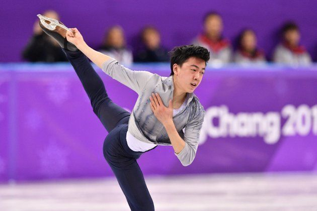 USA's Vincent Zhou competes in the men's single skating short program of the figure skating event during...