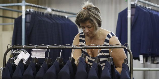 A labourer works at the Bolshevichka garment factory, the men's wear manufacturer, in Moscow, Russia...