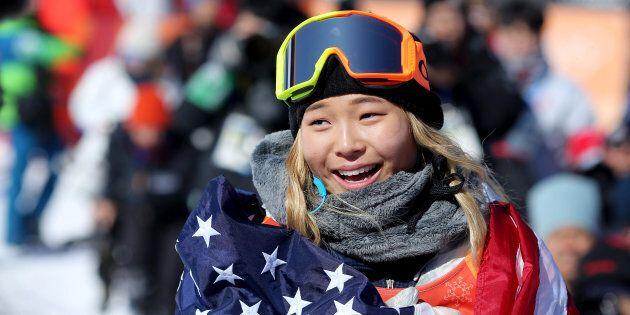 PYEONGCHANG, SOUTH KOREA - FEBRUARY 13: Gold medalist Chloe Kim #1 of the United States celebrates her...