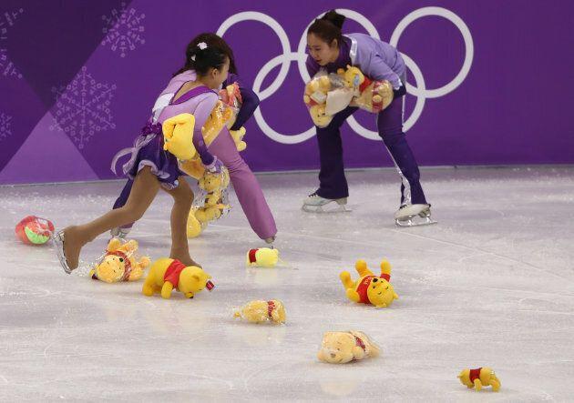 GANGNEUNG, SOUTH KOREA - FEBRUARY 17: Winnie the Pooh bears are throw for Yuzuru Hanyu of Japan after...