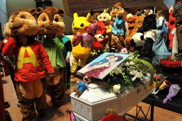 Il funerale di Beatrice Naso presso il Santo Volto a Torino, 17 febbraio 2018. La bambina, affetta da...