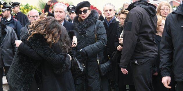 17/02/2018 Baricella chiesa di santa Maria funerali di Bibi Ballandi in foto Alba Parietti Milly
