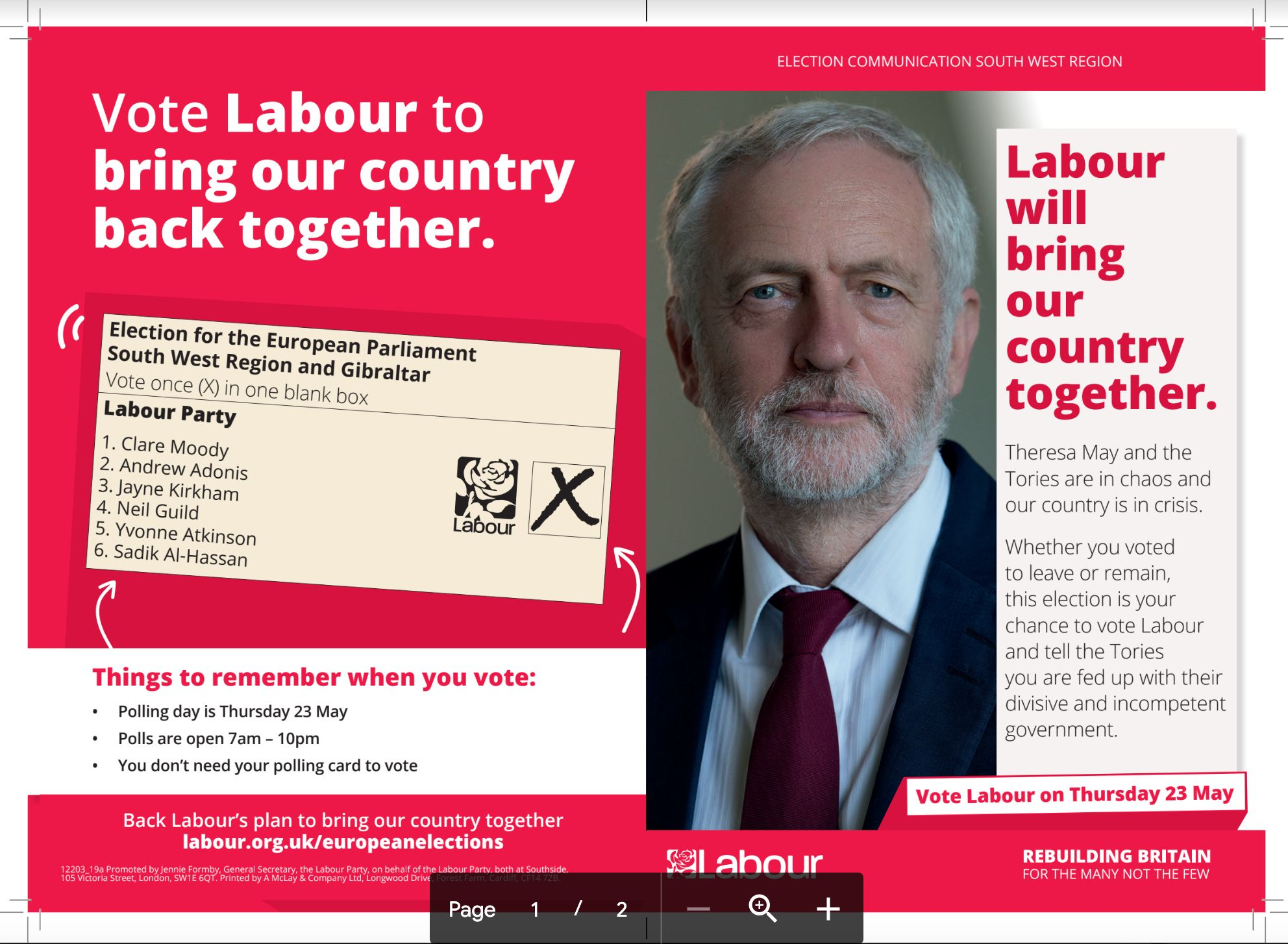 Image result for corbyn labour leaflet