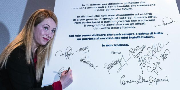 La leader di Fratelli d'Italia, Giorgia Meloni, durante la 'Manifestazione anti-inciucio' a Roma, 18...