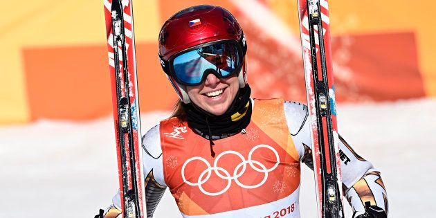 PYEONGCHANG-GUN, SOUTH KOREA - FEBRUARY 17: Ester Ledecka of Czech Republic wins the gold medal during...