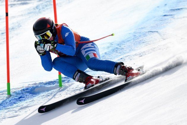 Italy's Sofia Goggia takes part in the Women's Downhill 1st training at the Jeongseon Alpine Center during...