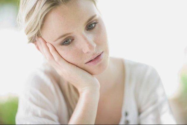 blond sad woman ,