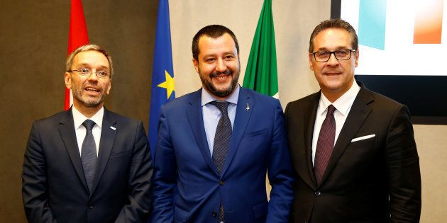 Italy's Interior Minister Matteo Salvini, his Austrian counterpart Herbert Kickl and Vice-Chancellor...