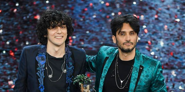 SANREMO, ITALY - FEBRUARY 10: Ermal Meta and Fabrizio Moro, winners of the 68th Italian Music Festival...