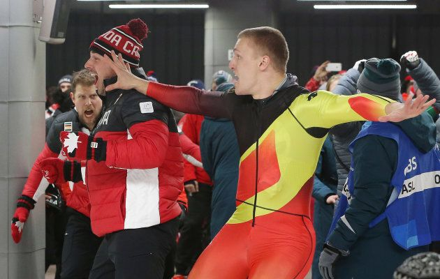 ALPENSIA, Pyeongchang- FEBRUARY 19 - Canadians Nick Poloniato and Jesse Lumsden are outsprinted to Justin...