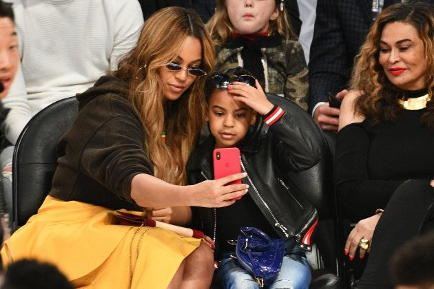 LOS ANGELES, CA - FEBRUARY 18: Beyonce and Blue Ivy Carter attend The 67th NBA All-Star Game: Team LeBron...