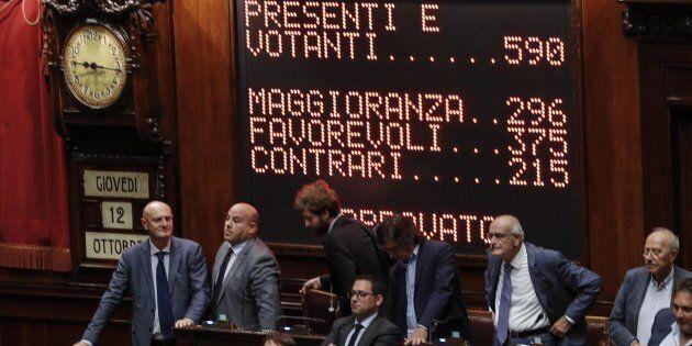 La Camera al momento dell'approvazione del Rosatellum a Roma i 12 ottobre