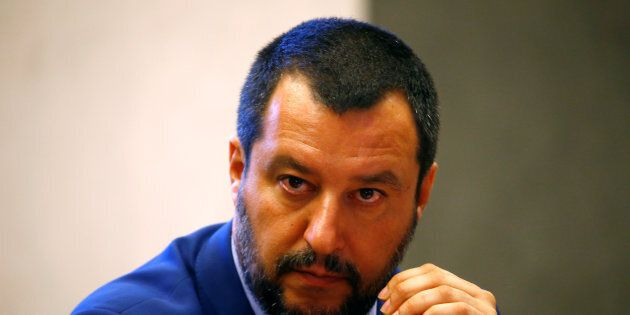 Italy's Interior Minister Matteo Salvini looks on during the news conference at the Viminale in Rome,...