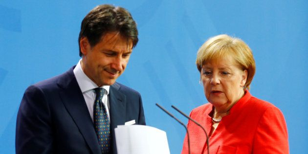 German Chancellor Angela Merkel and Italian Prime Minister Giuseppe Conte hold a news conference at the...