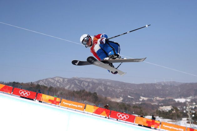 PYEONGCHANG, SOUTH KOREA -FEBRUARY 20: Marie Martinod #7 of France in action while winning the silver...