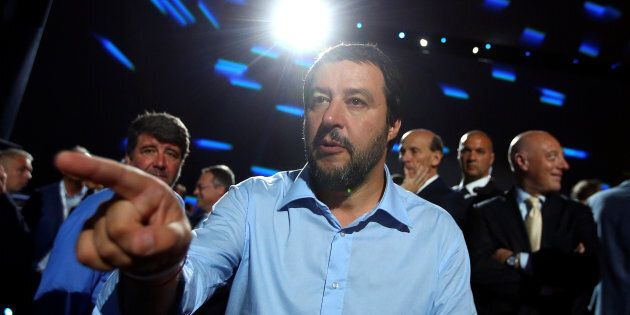 Interior Minister Matteo Salvini gestures as he arrives at the Italian Business Association Confcommercio...