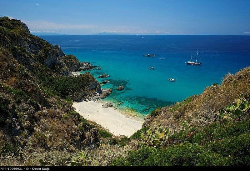 Italy, Europe, Calabria, outside, day, nobody, Capo Vaticano, Tropea, place of interest, beach, seashore,...