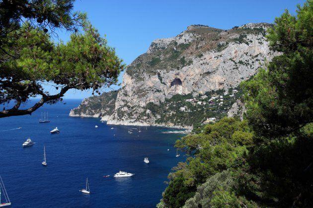 Italy. Campania. Capri. The Marina Piccola Bay and Mount Solaro From Tragara. (Photo by: Antonio Capone/AGF/UIG...