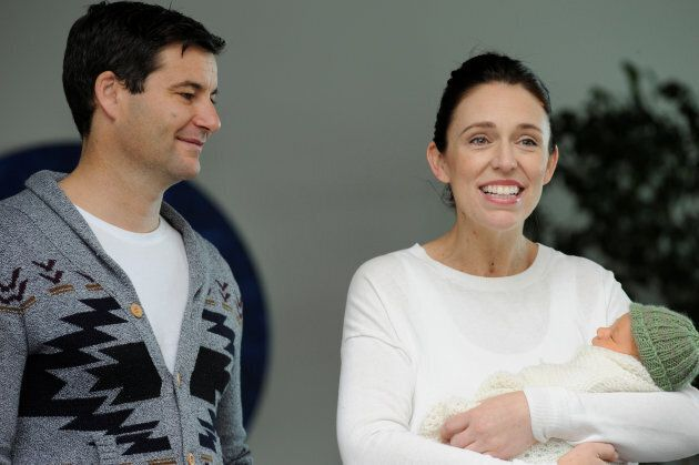 New Zealand Prime Minister Jacinda Ardern carries her newborn baby Neve Te Aroha Ardern Gayford with...