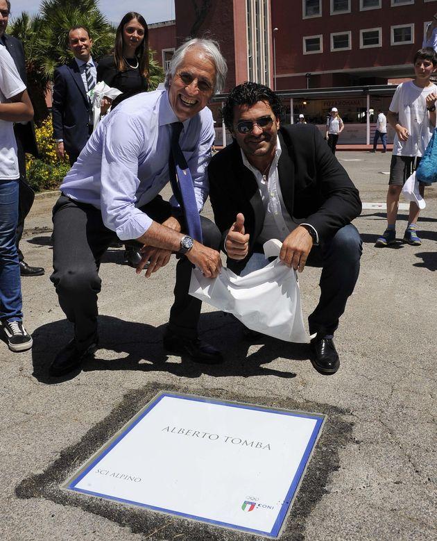 Il presidente del Coni, Giovanni Malago (S) e Alberto Tomba, durante dell'inaugurazione della Walk of...