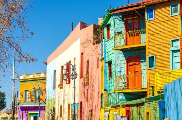 Bright colors of Caminito street in La Boca neighborhood of Buenos Aires,
