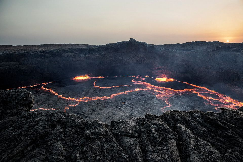 A view of the volcano Erta Ale. Erta Ale is a continuously active basaltic shield volcano in the Afar...