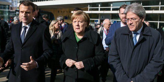 Gentiloni-Macron-Merkel a Bruxelles, impegno comune su immigrazione e
