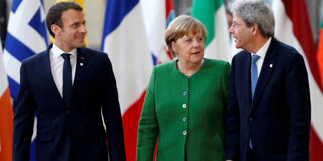 French President Emmanuel Macron, Germany's Chancellor Angela Merkel and Italy's Prime Minister Paolo...