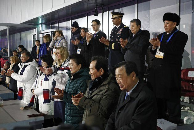 PYEONGCHANG-GUN, SOUTH KOREA - FEBRUARY 25: South Korean President Moon Jae-in, from bottom left, first...