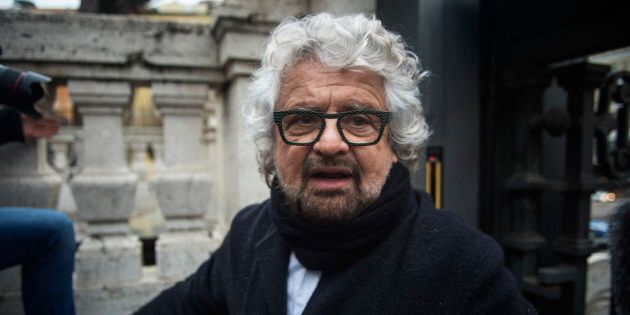 ROME, ITALY - JANUARY 19: 5-Star Movement leader Beppe Grillo speaks with journalists before registered...