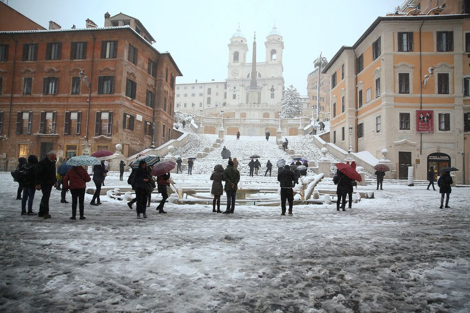 Spanish Steps are seen during a heavy snowfall in Rome, Italy February 26, 2018. REUTERS/Alessandro