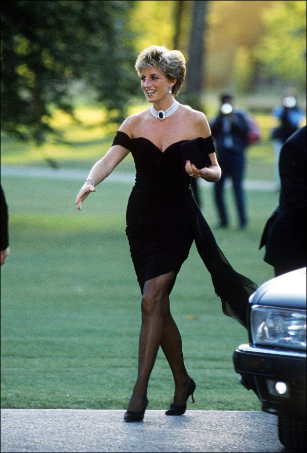 Princess Diana (1961 - 1997) arriving at the Serpentine Gallery, London, in a gown by Christina Stambolian,...