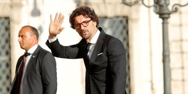 Italy's Minister of Infrastructure and Transport Danilo Toninelli arrives for gala dinner at the Quirinal...