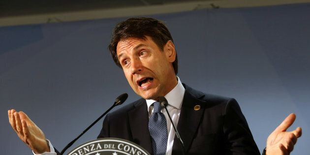 Italian Prime Minister Giuseppe Conte addresses a news conference during an European Union leaders summit...