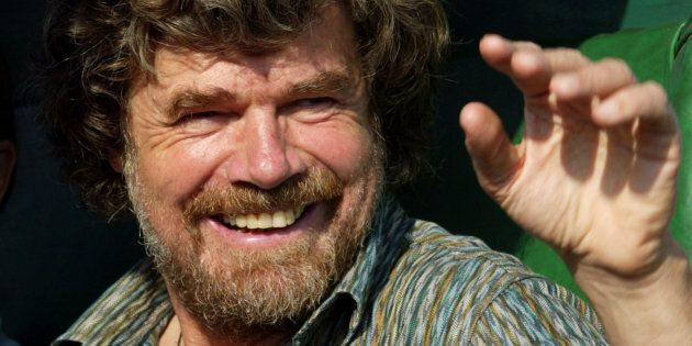 Italian-born mountaineer Reinhold Messner waves to the crowd in Kathmandu during the golden jubilee celebrations...