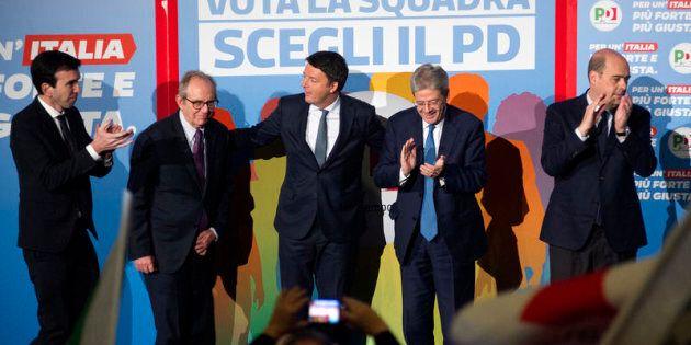 Roma 27/02/2018, iniziativa elettorale del Partito Democratico. Nella foto Maurizio Martina, Pier Carlo...