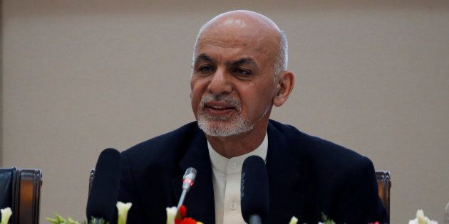 Afghan President Ashraf Ghani speaks during during a peace and security cooperation conference in Kabul,...