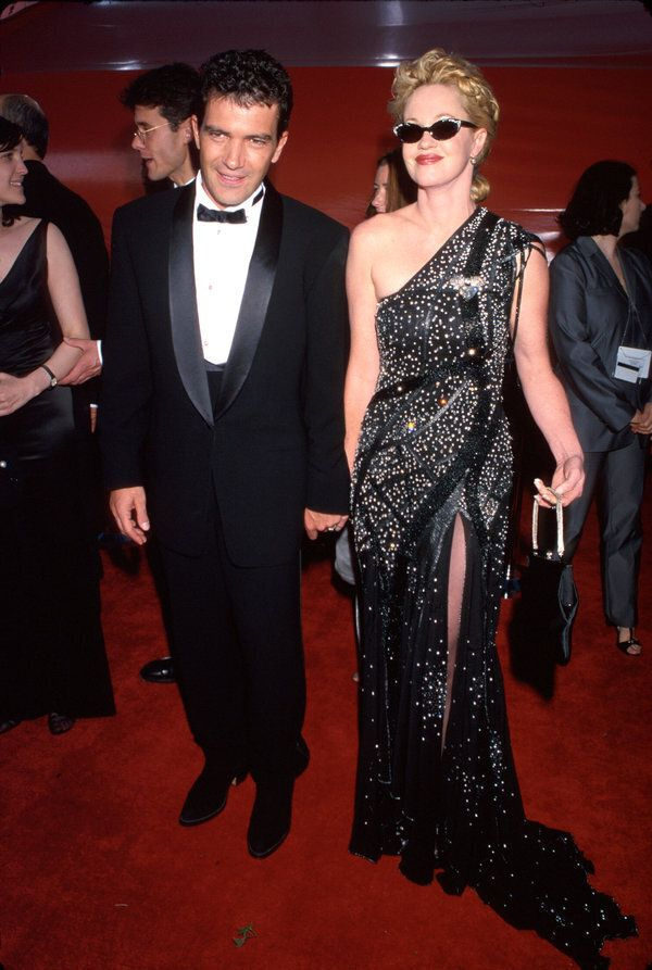Married actors Antonio Banderas and Melanie Griffith at Academy Awards. (Photo by Mirek Towski/DMI/The...